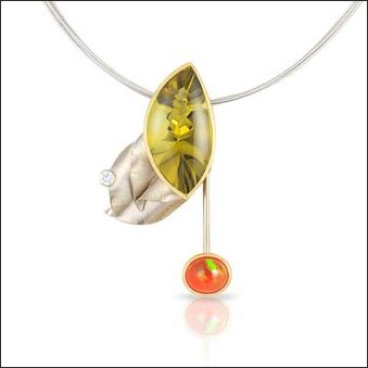 Fantasy-Cut Lemon Quartz & Diamond Pendant Featuring a Swinging Fire Opal Pendulum, 18KY & 14KW