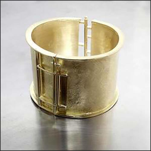 Style #28310082: Solid Handmade Textured Cuff Bracelet, 18KY Gold