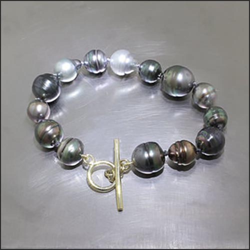 Item #24310057: Multi-color Tahitian Pearl Bracelet with 18KY Gold Toggle Clasp