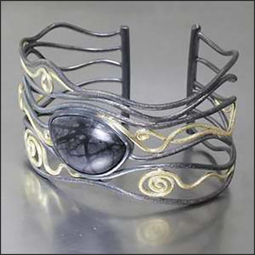 Style #23510039: Wide Open-Frame Cuff w/ Bezel-Set Picasso Marble Jasper Cabachon, 18KY Gold & Sterling Silver