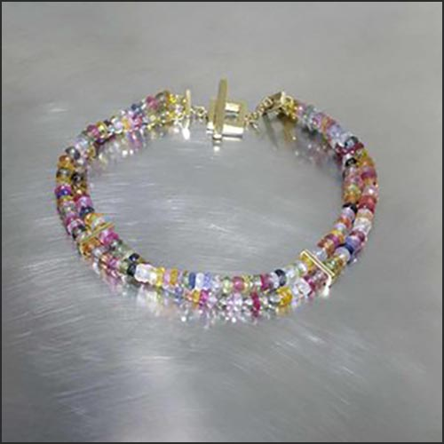 Style #22910038: Multi-Color Sapphire 'Double-Helix' Bead Bracelet w/ 18KY Gold Toggle Clasp