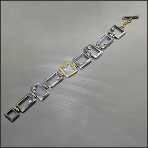 Style #22310151: Handmade, Industrial-Chic Open Box Link Bracelet w/ Sparkling Diamond Accents, Oxidized Sterling Silver & 18KY Gold