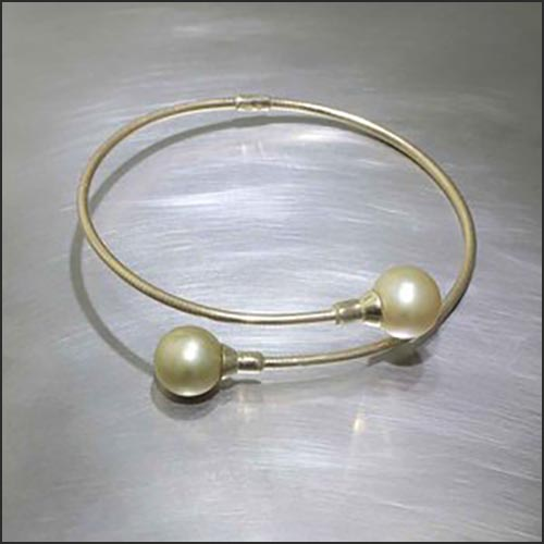 Style #24310058: Flexible Golden South Sea Pearl Wrap Bracelet, 18KY Gold w/ Titanium Core