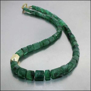 Style #27010004: Large 180ct Emerald Bead Strand w/ 18KY Diamond Spacer Bead & Subtle, Hinged Clip Clasp, 18KY Gold