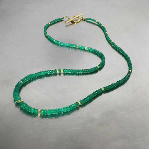 Style #27010007: Dainty Emerald Rondelle Bead Strand w/ 22KY Tube Spacer Beads & Toggle Clasp