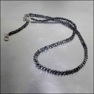 Style #22410211: Ultra-Sparkly 50CT Faceted Black Diamond Necklace w/ Dual-Length Hook Clasp