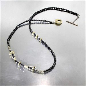 Style #22410210: Sparkling Black Diamond Bead Necklace Embellished by 18KY & 14KW Structural Accents
