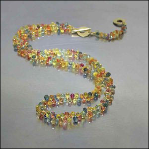Style #23010024: Bright Multi-Colored Sapphire Briolette Necklace, 18KY Gold Dual-Length Toggle Clasp