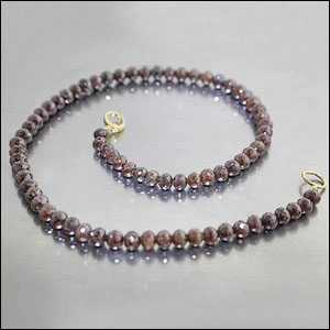 "Style #22410221: Stunning 150ct Strand of Glittering ""Cognac"" Brown Diamond Round Beads, 18KY Gold Hinged Clip-Style Clasp"