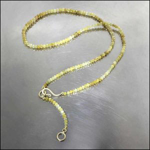 Style #22410220: Dual-Length 49.17CT Faceted Yellow Diamond Bead Necklace, 18KY Gold Hook Clasp