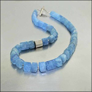 "Style #23610112: Chunky Triangular Aquamarine Bead Necklace w/ Angular White Gold Bead Accent, 17"" incl. 14KW Toggle Clasp"