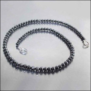"Style #22410231: Gorgeous 152.62ct Graduated Strand of Sparkling Black Diamond Beads, 17"" w/ 14KW Gold Clip-Style Clasp"