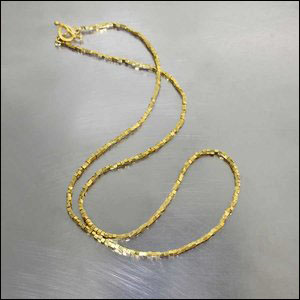 Style #28410076: High-Karat Yellow Gold Cubic Bead Necklace