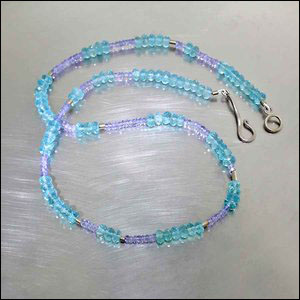 Style #23610135: Tanzanite & Apatite Rondelle Bead Necklace w/ Intermittent Tube Spacers, 14KW Gold