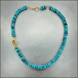 Style #23610138: Smooth Round 215CTW Turquoise Bead Necklace, 18KY Gold