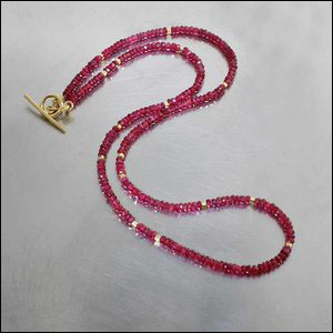 Spicy Red Spinel Necklace w/ High-Karat Gold Beads