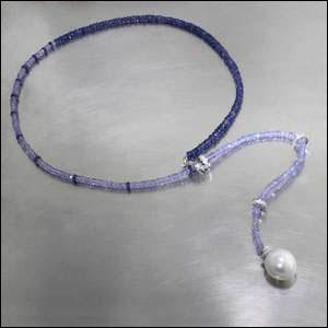 Style #23610119: Elegant Sapphire & Tanzanite Bead Necklace w/ Diamond Rondelle Spacers & Single Lustrous South Sea Pearl Drop