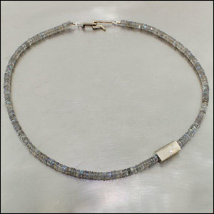 Item #23610088 - Labradorite Bead Strand with Diamond Accents, 14kw gold