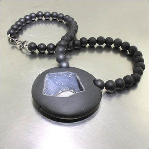Item # 23710297 - necklace with onyx druse, onyx beads, SS