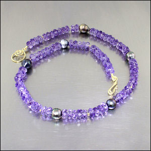 Item #23610083: Amethyst Bead & Tahitian Pearl Strand, 18KY Gold Clasp