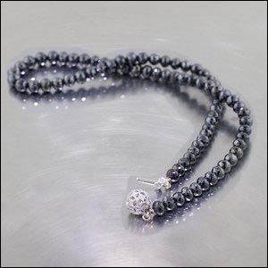 Item #42510236: Faceted Black Diamond Bead Strand with White Diamond-Encrusted Clasp, 14kt White Gold