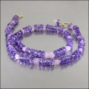 ITEM #23610082: Amethyst & Pink Tourmaline Bead Strand, 18kt Yellow Gold Hook Clasp