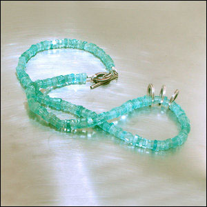 "Item #23610093: 17"" Apatite Disc Bead Strand w/ Oxidized Sterling Silver Rings"