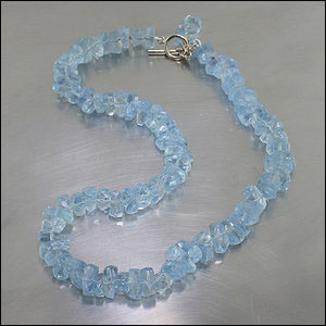 Item #23610100: Sparkling 15-Inch Strand of Aquamarine Nugget Beads with 14kt White Gold Toggle Clasp