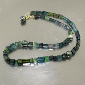 Item #23610084: Tourmaline Bead and Tahitian Pearl Strand, 18KY Gold Hook Clasp