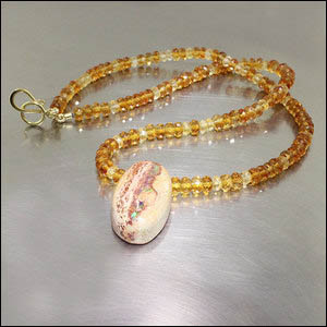 "ITEM #26510029 - Boulder Opal Pendant on Multi-Color 18"" Citrine Bead Strand, 18kt Yellow Gold"