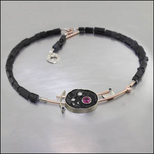 Item #23710301: Black Tourmaline Bead Necklace Featuring a Pink Tourmaline set into Black Tourmaline Slice + Diamond Accents, 14kt white and rose gold