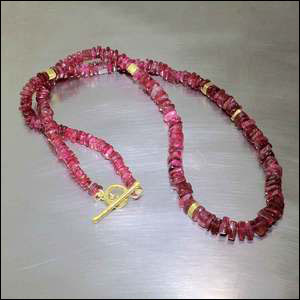 "Item #23610101: 17.5"" Strand of Red Spinel Triangular Discs w/ Textured 22KY Gold Spacers & Toggle Clasp"