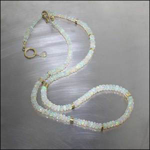 Style #26410004: Ethiopian Opal Bead Strand w/ 18KY Gold Tube Spacers & Dual-Length Shepherd's Hook Clasp