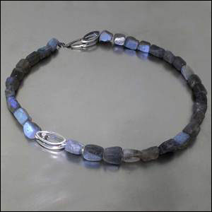 Style #23610104: Glowing Labradorite Bead Strand w/ Diamond-Studded Open Marquise Shape & Toggle Clasp, Oxidized Sterling Silver