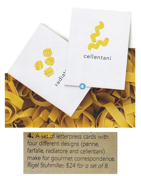 Letterpressed Pasta cards featured in La Cucina Italiana, 2012