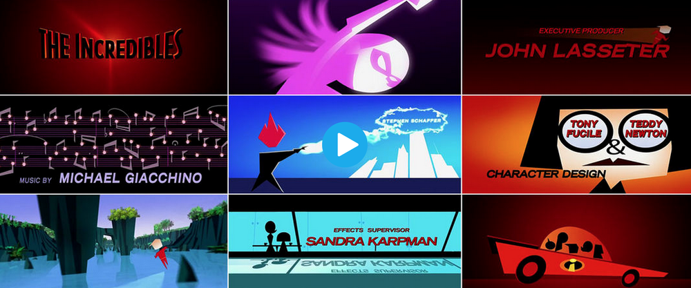 Sequence from The Incredibles (2004) as displayed at Art of the Title