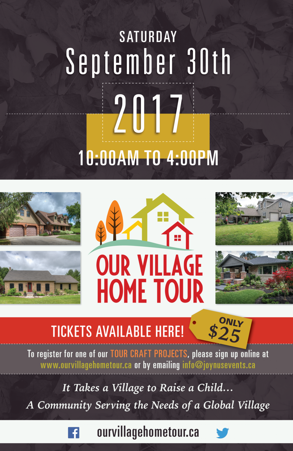 Event Promotion Poster - A cozy fall-themed home tour promotional poster. An elegant and modern feel to showcase an upcoming event and drive registrations.