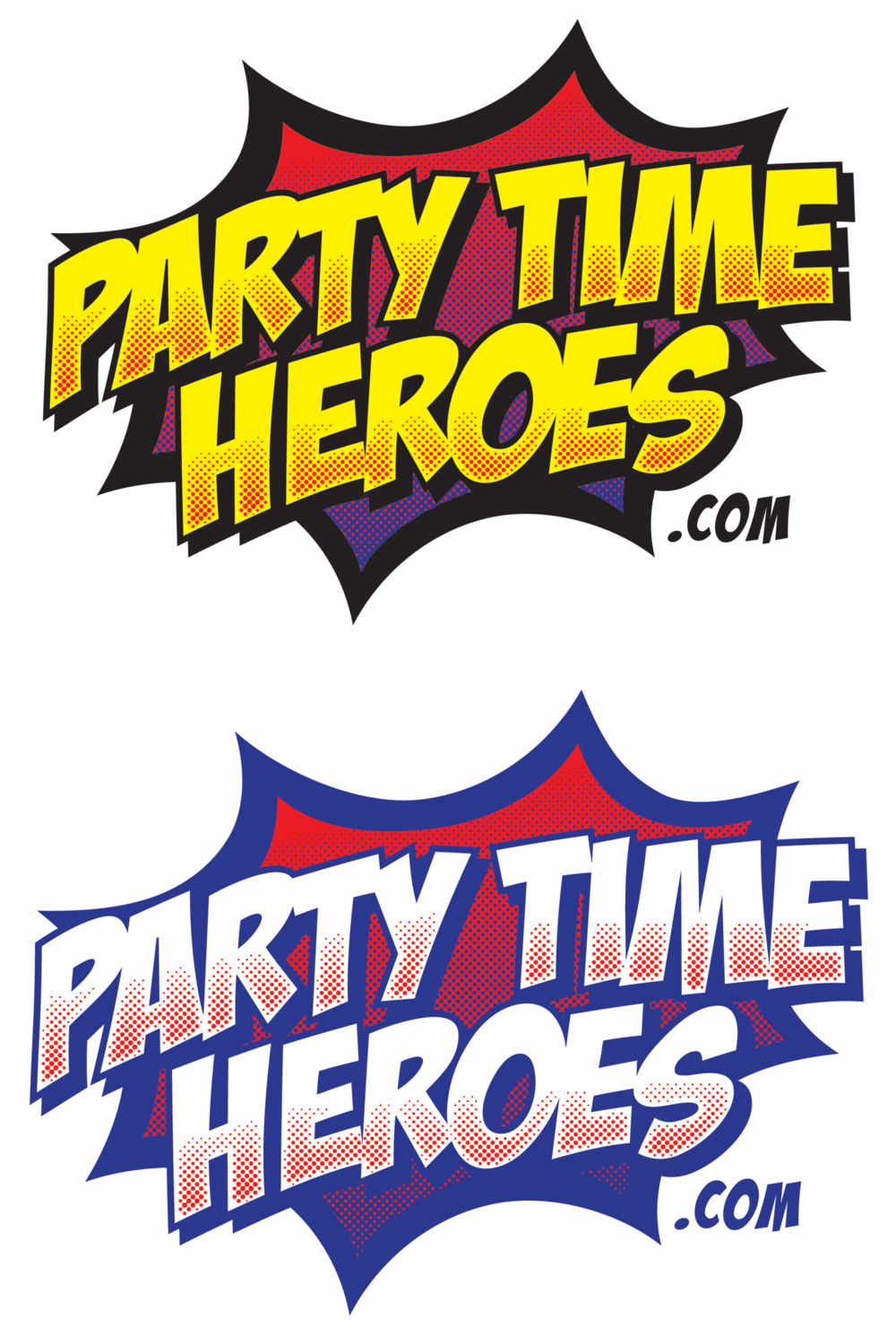 Company Rebrand - A new name matched with an exciting new logo for this event and party enhancing business! As a company that brings fully-costumed superheroes and pop-culture personalities to parties and events it made a lot of sense to introduce an explosive comic book feel to the new brand identity.