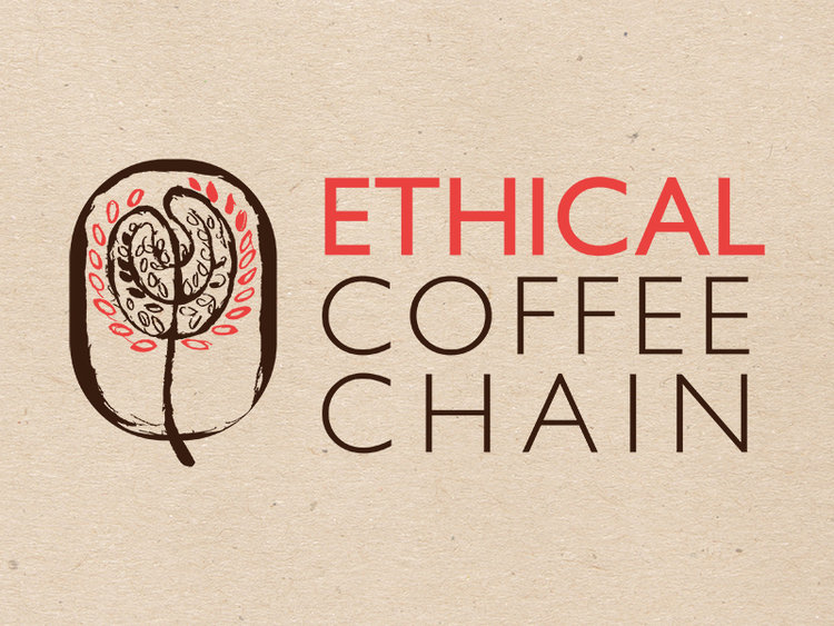 Company Branding - Ethical Coffee Chain is a co-op aiming to be a direct link between the coffee farmer and your morning enjoyment. This design aims to visualize that ethical, fairly traded, direct source aesthetic and the touch. feel, and smell of the jute bags used in coffee distribution.