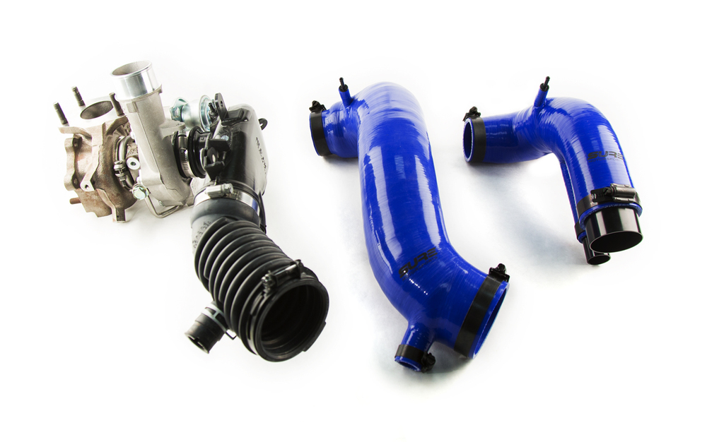 (left) OEM turbo, turbo inlet, & intake hose - (center) the Bigmouth - (right) the Sidewinder