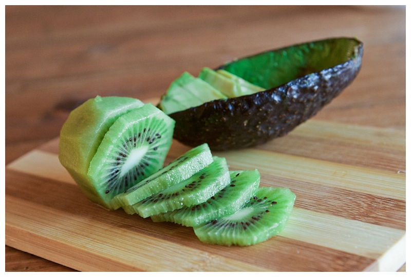 I chopped one kiwi and 1/4 an avocado.