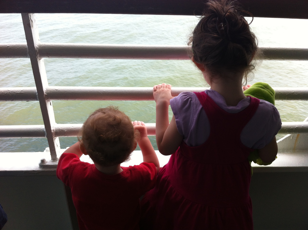My littles, staring at the water.