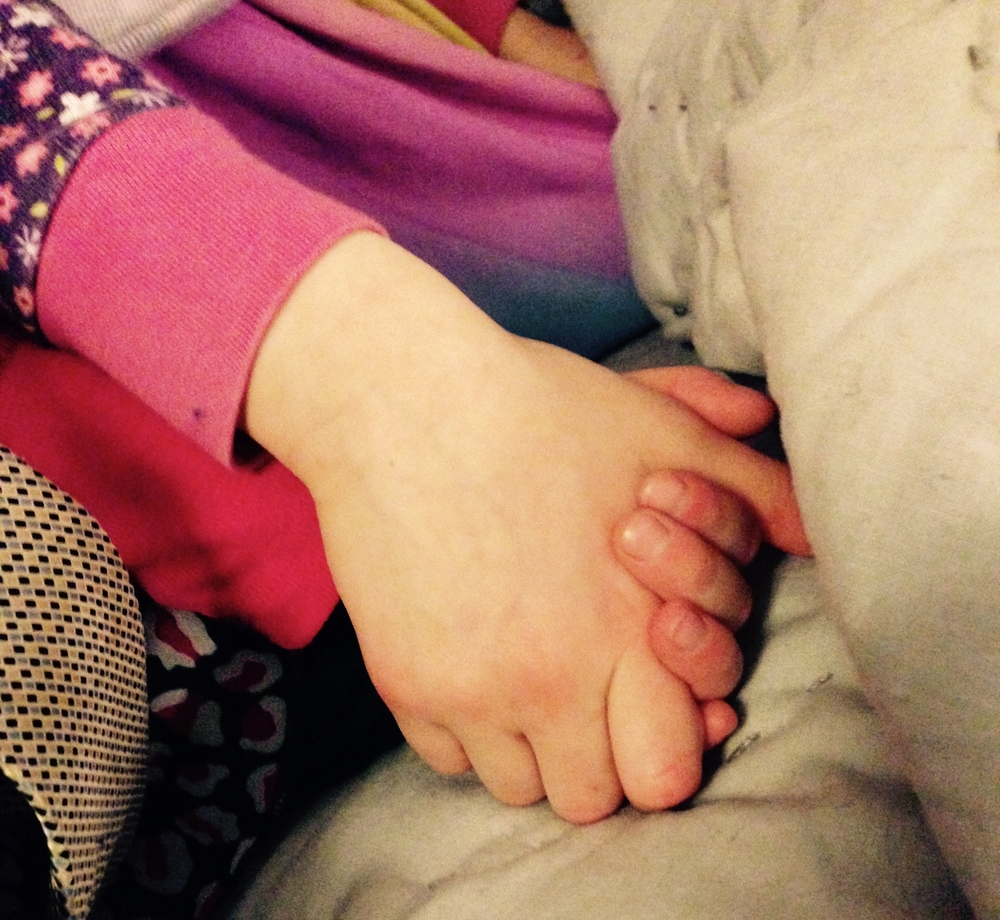 A big sister's hand to hold when mama's not feeling hand-holdy.