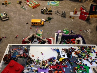 Does anyone with a kid not have a Lego mess?