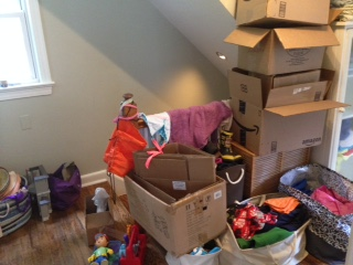 This. This is actually my genius plan to get rid of half of the crap we own so we can spend half as much time cleaning (or stressing about cleaning). Unfortunately, these boxes have been here, waiting to be filled and donated, for longer than I care to confess.