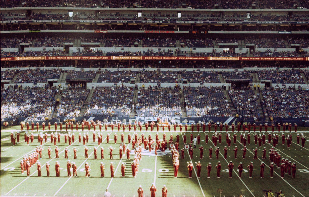 IU Marching Hundred during the halftime show on September 28 Olympus OM-G - Lomography XPRO 200