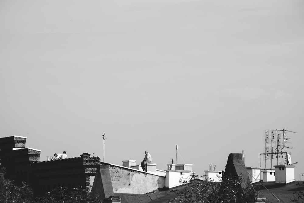 Roof workers in Krakow