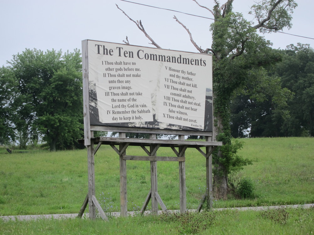 Ten Commandments, posted everywhere along the road in Western Kentucky.