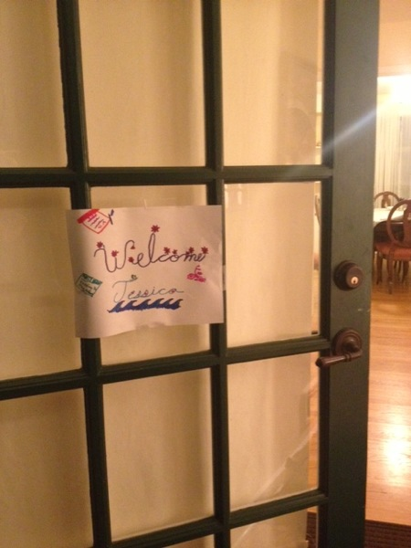 Welcome sign made by Sivan's daughters, Talia and Sadie