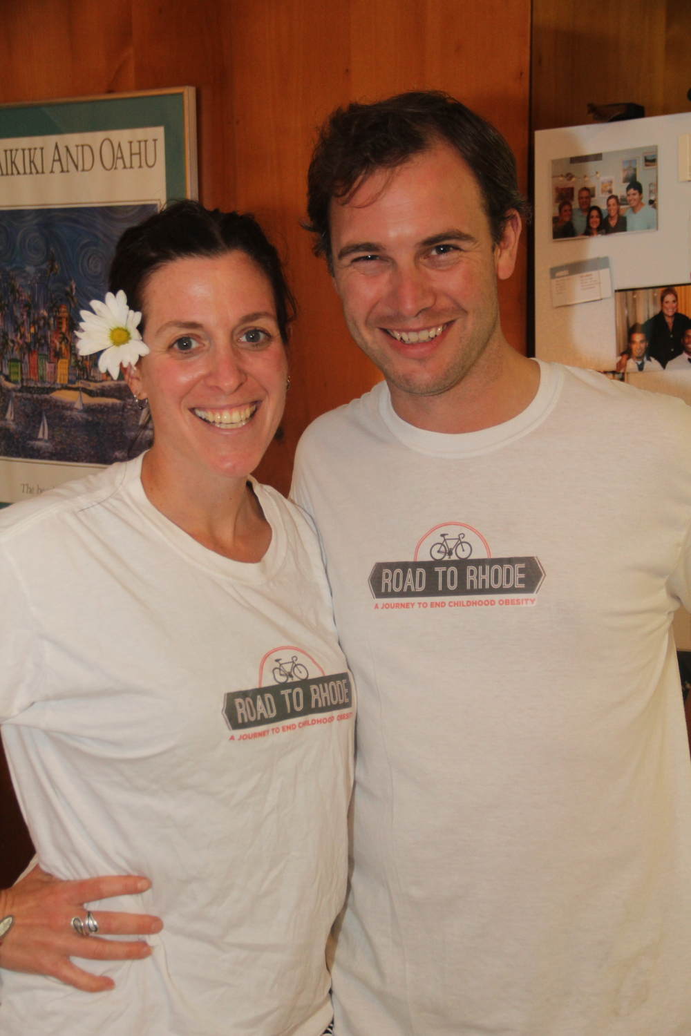 Josh Buckno and I, with our Road to Rhode t-shirts that Alison and her brother made for us!
